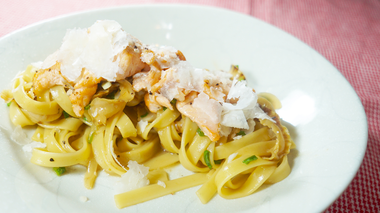 Tagliatelle with shoyu butter and scallop frills